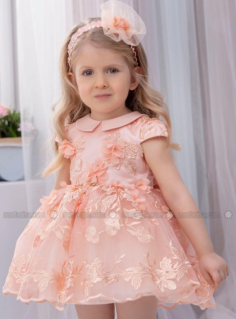 Multi - Round Collar - Fully Lined - Salmon - Girls` Dress