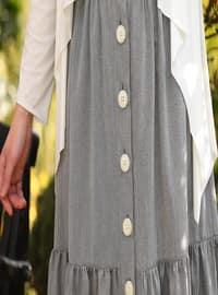 Grey - Unlined - Cotton - Skirt