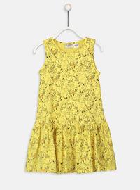 Printed - Yellow - Girls` Dress