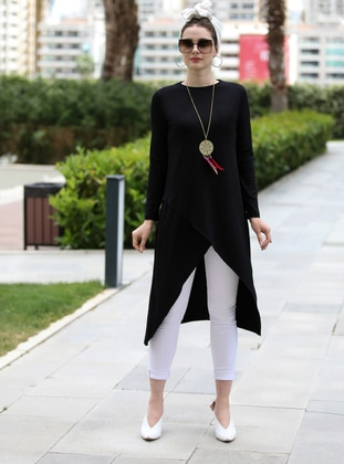 Black - Black - Crew neck - Viscose - Tunic