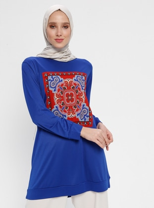 Blue - Multi - Crew neck - Tunic