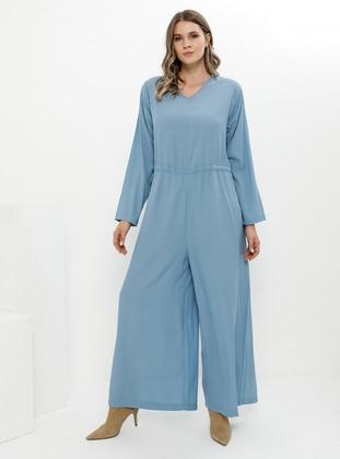 Indigo - Blue - Unlined - V neck Collar - Viscose - Jumpsuit