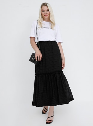 Black - Fully Lined - Plus Size Skirt - Alia