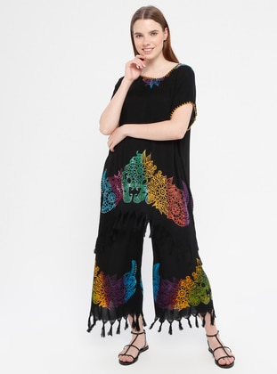 Black - Multi - Cotton - Culottes