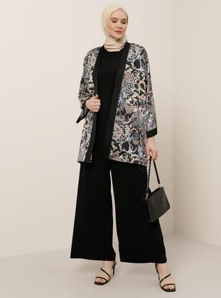 Black - Beige - Multi - Unlined - Plus Size Coat