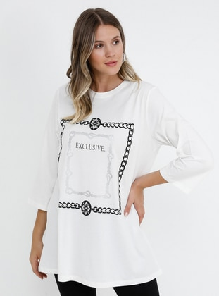 White - Ecru - Multi - Crew neck - Cotton - Plus Size Tunic