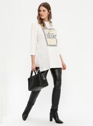 White - Ecru - Multi - Crew neck - Cotton - Plus Size Tunic