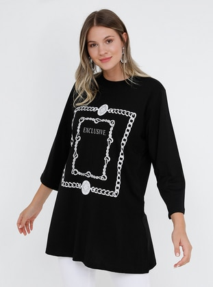 Black - Multi - Crew neck - Cotton - Plus Size Tunic