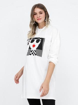 White - Ecru - Multi - Cotton - Plus Size Tunic