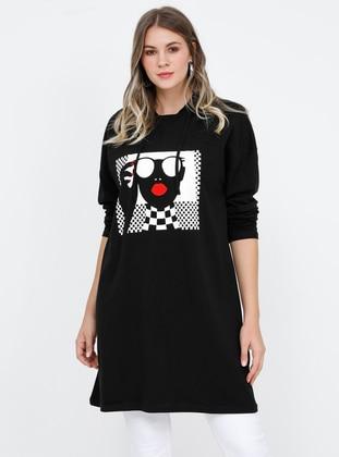Black - Multi - Cotton - Plus Size Tunic