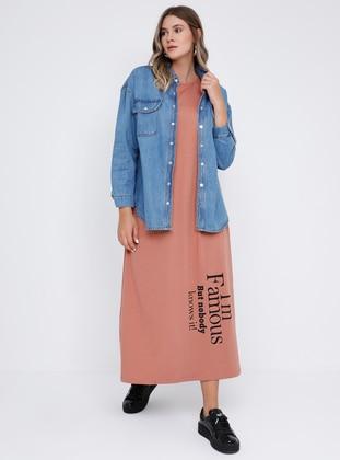 Brown - Salmon - Unlined - Crew neck - Cotton - Plus Size Dress