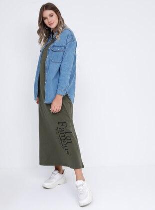 Khaki - Unlined - Crew neck - Cotton - Plus Size Dress