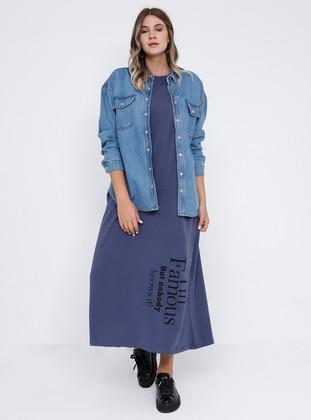 Blue - Purple - Lilac - Unlined - Crew neck - Cotton - Plus Size Dress