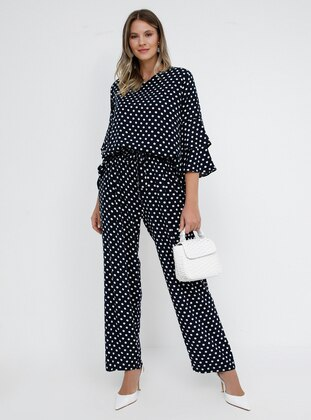 Navy Blue - Polka Dot - Viscose - Plus Size Pants