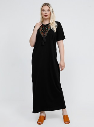 Black - Unlined - Crew neck - Cotton - Plus Size Dress