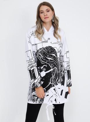 White - Ecru - Multi -  - Plus Size Tunic