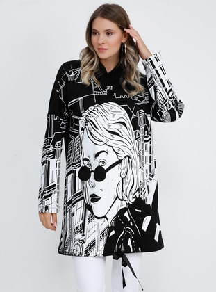 Black - Multi -  - Plus Size Tunic