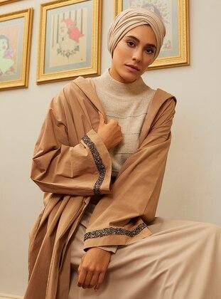 Camel - V neck Collar - Cotton - Jacket