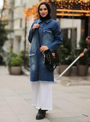 Blue - Point Collar - Denim - Jacket