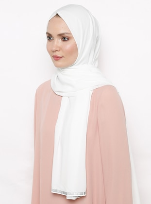 White - Ecru - Plain - Litho - Shawl