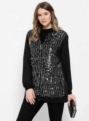 Black - Unlined - Crew neck - Cotton - Plus Size Coat - Alia