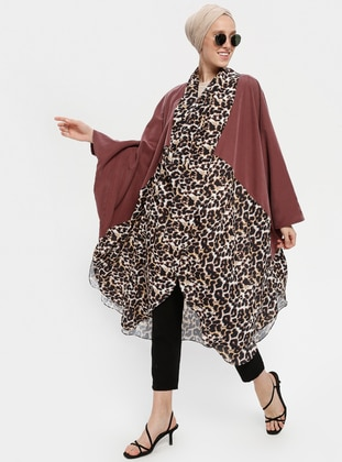 Maroon - Leopard - Shawl Collar - Tunic