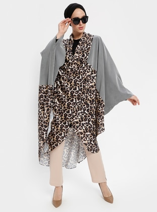 Gray - Leopard - Shawl Collar - Tunic