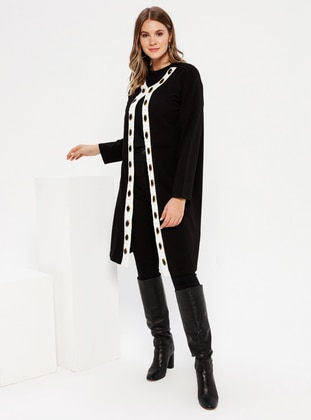 Black - White - Ecru - Unlined - Cotton - Plus Size Coat