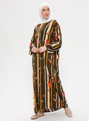 Khaki - Multi - Unlined - Viscose - Prayer Clothes