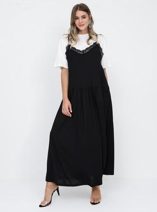 Black - White - Ecru - Crew neck - V neck Collar - Unlined - Cotton - Plus Size Suit