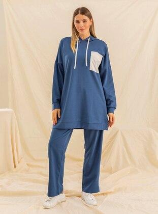 Blue - Navy Blue - Indigo - Unlined - Cotton - Plus Size Suit