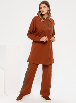 Brown - Cinnamon - Unlined - Cotton - Plus Size Suit