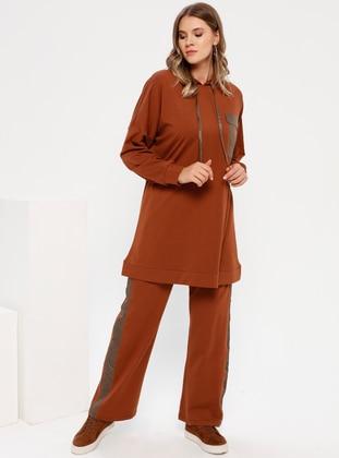 Brown - Cinnamon - Unlined - Cotton - Plus Size Suit