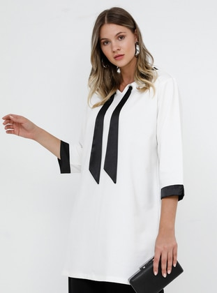 Black - White - Ecru - V neck Collar - Cotton - Plus Size Tunic