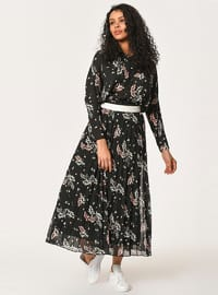 Black - Floral - Fully Lined - Skirt