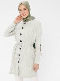 Green - Stripe - Point Collar - Cotton - Tunic