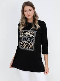 Black - Multi - Crew neck - Cotton - Plus Size Tunic