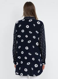Navy Blue - Floral - Point Collar - Viscose - Plus Size Tunic
