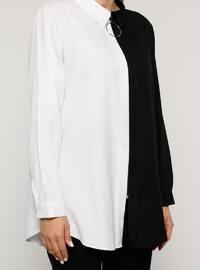 Black - White - Point Collar - Cotton - Plus Size Tunic
