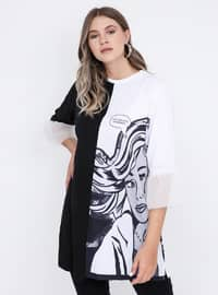 White - Black - Multi - Crew neck -  - Plus Size Tunic