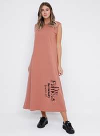 Kahverengi - Somon - Astarsız kumaş - Yuvarlak yakalı - Pamuk - Büyük Beden elbise