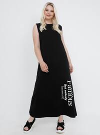 Black - Unlined - Crew neck - Cotton - Plus Size Dress