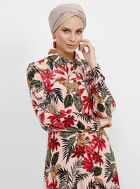 Pink - Powder - Multi - Point Collar - Unlined - Viscose - Dress
