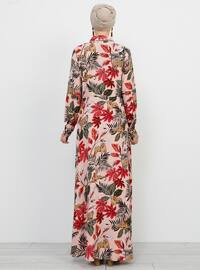 Pink - Powder - Multi - Point Collar - Unlined - Viscose - Dress