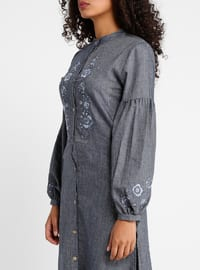 Navy Blue - Crew neck - Viscose - Tunic