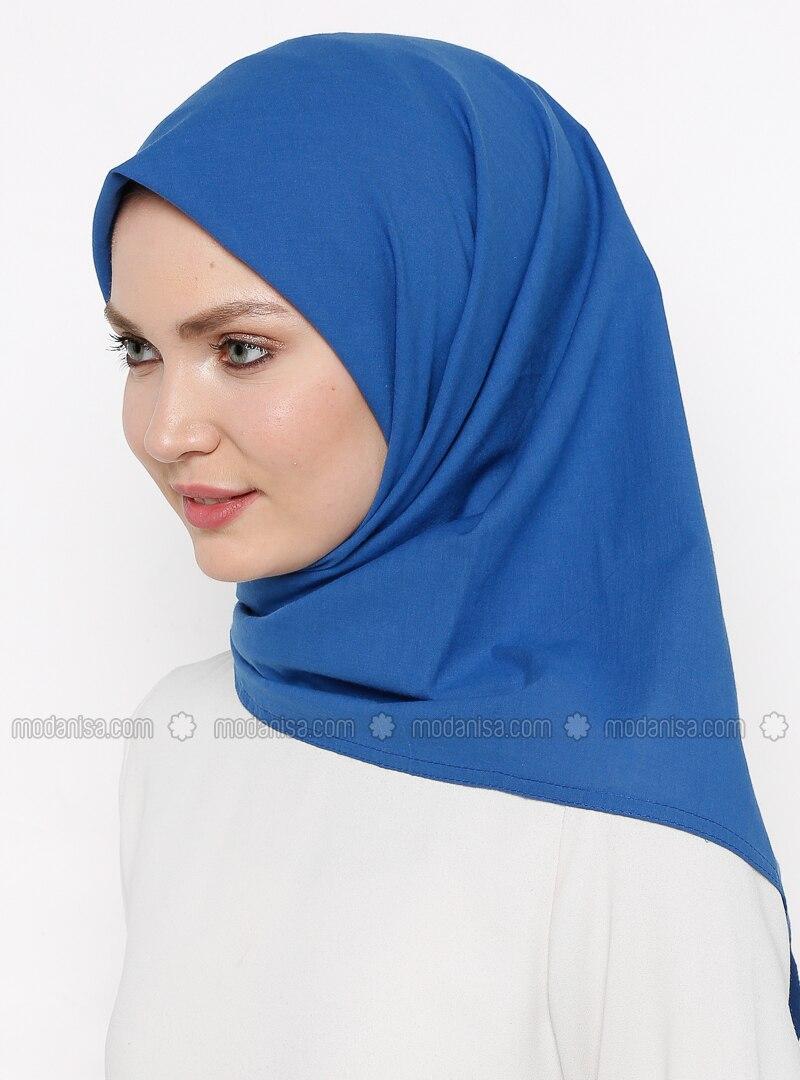 Navy Blue - Indigo - Plain - Cotton - Shawl