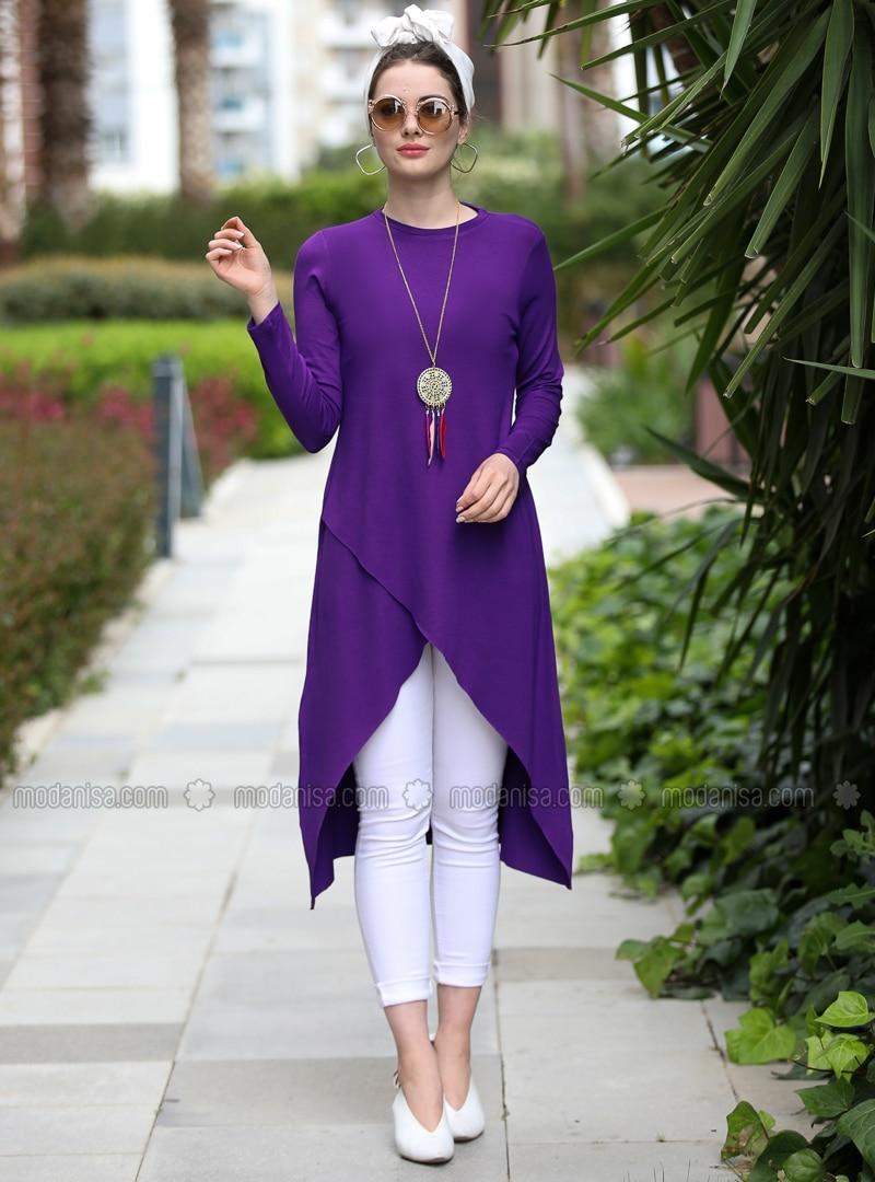 Purple - Crew neck - Viscose - Tunic