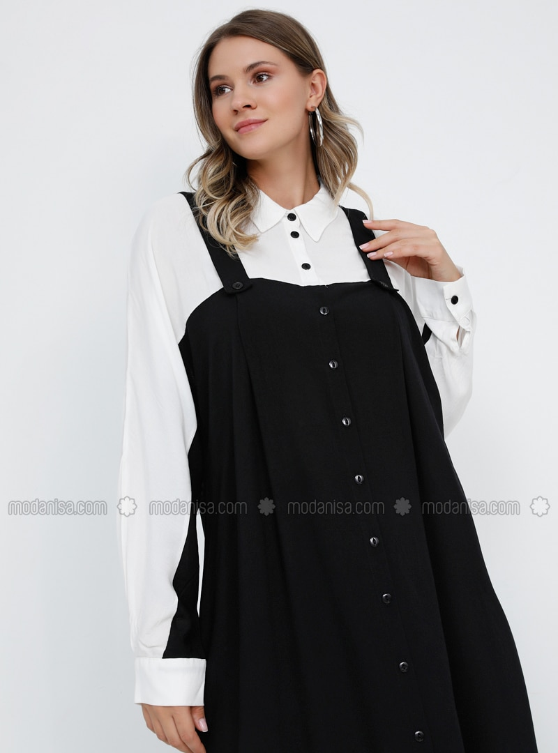 White - Black - Unlined - Point Collar - Viscose - Plus Size Dress
