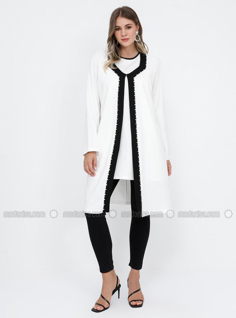 Black - White - Ecru - Unlined - Cotton - Plus Size Suit