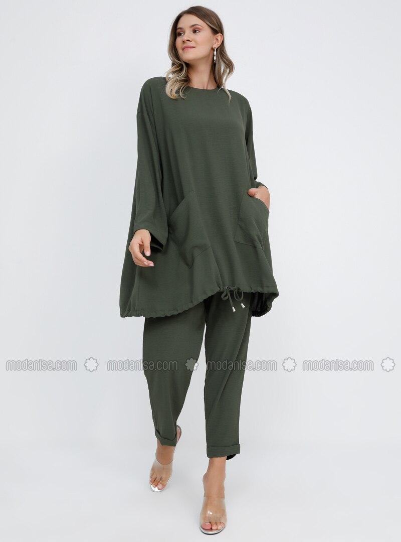 Khaki - Crew neck - Unlined - Plus Size Suit